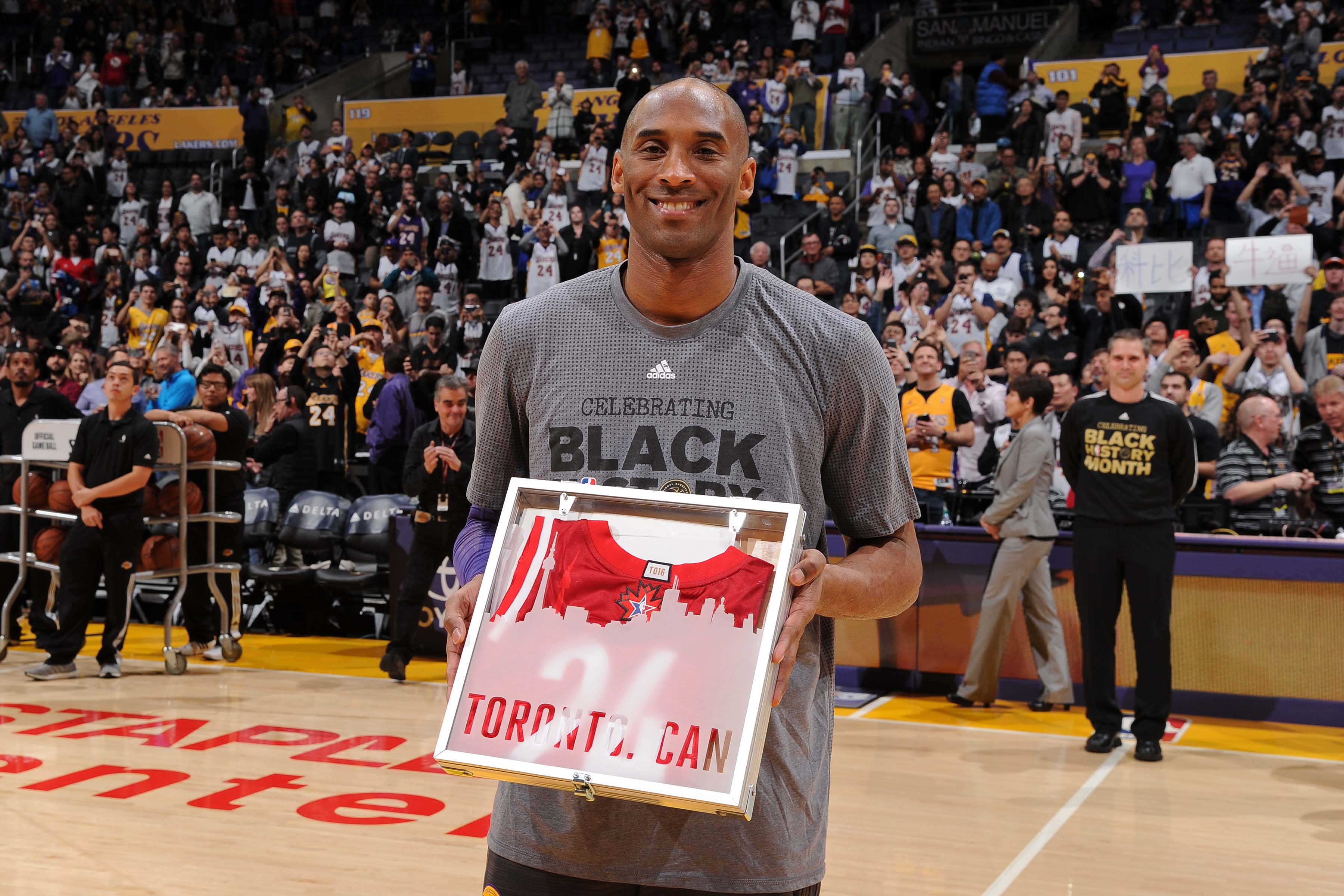LOS ANGELES, CA - FEBRUARY 2:  Kobe Bryant #24 of the Los Angeles Lakers poses for a photo with his 2016 NBA All-Star Jersey before the game against the Minnesota Timberwolves on February 2, 2016 at STAPLES Center in Los Angeles, California. NOTE TO USER: User expressly acknowledges and agrees that, by downloading and/or using this Photograph, user is consenting to the terms and conditions of the Getty Images License Agreement. Mandatory Copyright Notice: Copyright 2016 NBAE (Photo by Andrew D. Bernstein/NBAE via Getty Images)